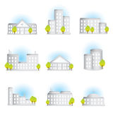 Buildings. Colleclion of different illustrated buildings