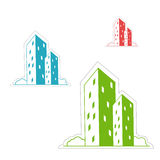 Buildings. Illustration of buildings on white background Stock Photo