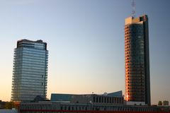 Buildings. Modern buildings in vilnius in a sunset Stock Photos
