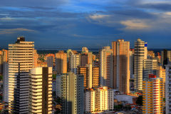 Buildings. Tall buildings with blue sky and clouds in background - Belem - Brazil Royalty Free Stock Photos
