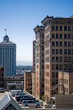 Buildings. Several buildings as seen from a rooftop, in the downtown Salt Lake City area.Several buildings as seen from a rooftop, in the downtown Salt Lake City Stock Photo