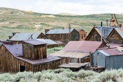 Buildings in the abandoned ghost town of Bodie California. Bodie was a busy, high elevation gold mining town in the Sierra Nevada. Mountains in the early 1900s royalty free stock image