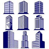 Buildings abstract icon set vector  illustration Royalty Free Stock Photo