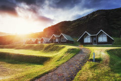 Buildings Age city at sunset in Iceland Royalty Free Stock Image