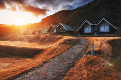 Buildings Age city at sunset in Iceland Royalty Free Stock Photo