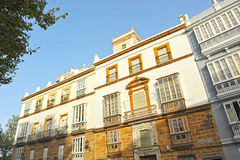 Buildings in Alameda, the colors of Cadiz, Andalusia, Spain Royalty Free Stock Image
