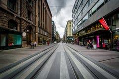 Buildings along Aleksanterinkatu, in Helsinki, Finland. Stock Images