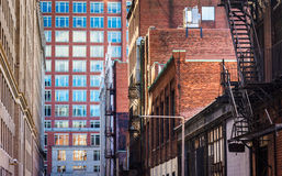 Buildings along an alley in Boston, Massachusetts. Stock Image