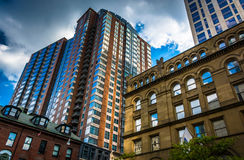 Buildings along Boylston Street in Boston, Massachusetts. Stock Photography