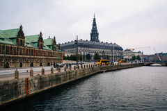 Buildings along a canal in Copenhagen, Denmark. Royalty Free Stock Images