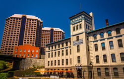 Buildings along the canal in Richmond, Virginia. Royalty Free Stock Photo
