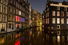 Buildings along the Canals in Amsterdam at Night Royalty Free Stock Images