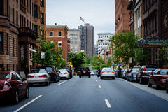 Buildings along Cathedral Street, in Mount Vernon, Baltimore, Ma Stock Photography