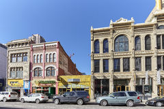 Buildings along Champa St. in Curtis Park in Denver. Royalty Free Stock Photography