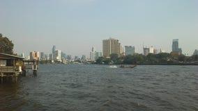 Buildings along Chao Phraya River in Bangkok, Thailand. Royalty Free Stock Photos
