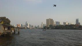 Buildings along Chao Phraya River in Bangkok, Thailand. Stock Image