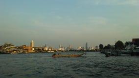 Buildings along Chao Phraya River in Bangkok, Thailand. Royalty Free Stock Photography