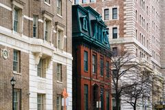 Buildings along Chase Street, in Mount Vernon, Baltimore, Maryland.  stock images