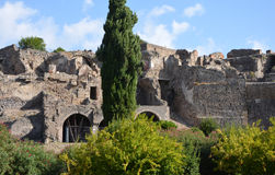 Buildings along the city walls in Pompeii Stock Image