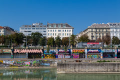 Buildings along the Danube Canal in Vienna Stock Photos
