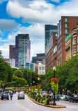 Buildings along a divided street in Boston, Massachusetts. Stock Photo