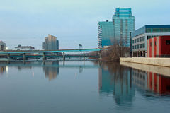 Buildings along grand River. In Grand Rapids Michigan Stock Photos