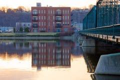 Buildings along grand River. And 6th street bridge  in Grand Rapids Michigan Royalty Free Stock Photo