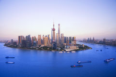 Buildings along the Huangpu river:west is shanghai bund and east Royalty Free Stock Photo
