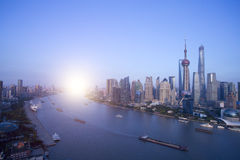 Buildings along the Huangpu river:west is shanghai bund and east Stock Photography