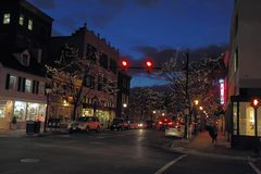 Buildings along King Street in Alexandria, Virginia at night royalty free stock photography