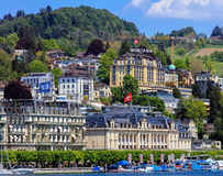 Buildings along Lake Lucerne in the city of Lucerne Stock Photos