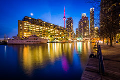 Buildings along Lake Ontario at night, at the Harbourfront in To. Ronto, Ontario Royalty Free Stock Photos