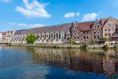 Buildings along the Leie river in Ghent, Belgium Royalty Free Stock Photography