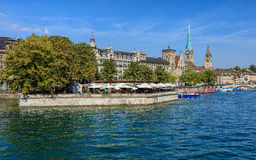 Buildings along the Limmat river in the city of Zurich, Switzerland Stock Photography