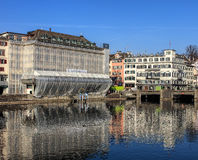 Buildings along the Limmat river in Zurich, Switzerland Stock Image