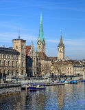 Buildings along the Limmat river in Zurich, Switzerland Stock Photo