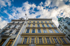 Buildings along Mariahilfer Straße, in Vienna, Austria. Royalty Free Stock Images