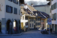 The buildings along the narrow street Stock Image