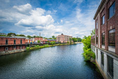 Buildings along the Nashua River, in Nashua, New Hampshire. Stock Photo