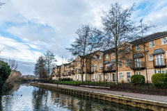 Buildings along Nene River in Northampton, UK Royalty Free Stock Photos