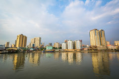 Buildings along the Pasig River, seen from Fort Santiago, in Int Royalty Free Stock Image