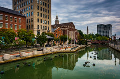 Buildings along the Providence River in Providence, Rhode Island Stock Images