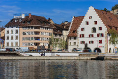 Buildings along the Rhine river in Schaffhausen, Switzerland Stock Images