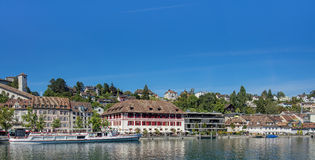Buildings along the Rhine river in Schaffhausen Royalty Free Stock Photo