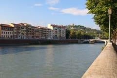 Buildings along the River Adige in Verona, Italy Royalty Free Stock Photo