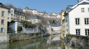 Buildings along River Alzette. A scene along the River Alzette in Benelux, Luxembourg Stock Photos