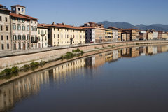 Buildings along the River Arno, Pisa Stock Photo
