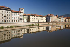 Buildings along the River Arno, Pisa Stock Image