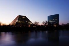 Buildings Along Shore Of River At Twilight Sacramento Royalty Free Stock Photos