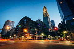 Buildings along Surface Road at night, in Boston, Massachusetts. stock photography